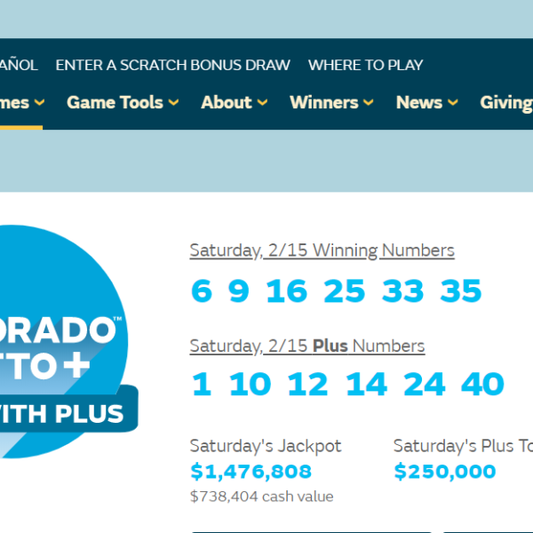 Screenshot from the Colorado Lottery website shows Saturday's winning Lotto+ numbers.