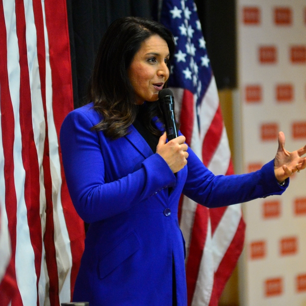 Democratic presidential candidate Rep. Tulsi Gabbard, D-Hawaii, holds a town hall at Keene State College, in Keene, N.H., on Wednesday, Feb. 5, 2020. (Kristopher Radder/Brattleboro Reformer via AP)