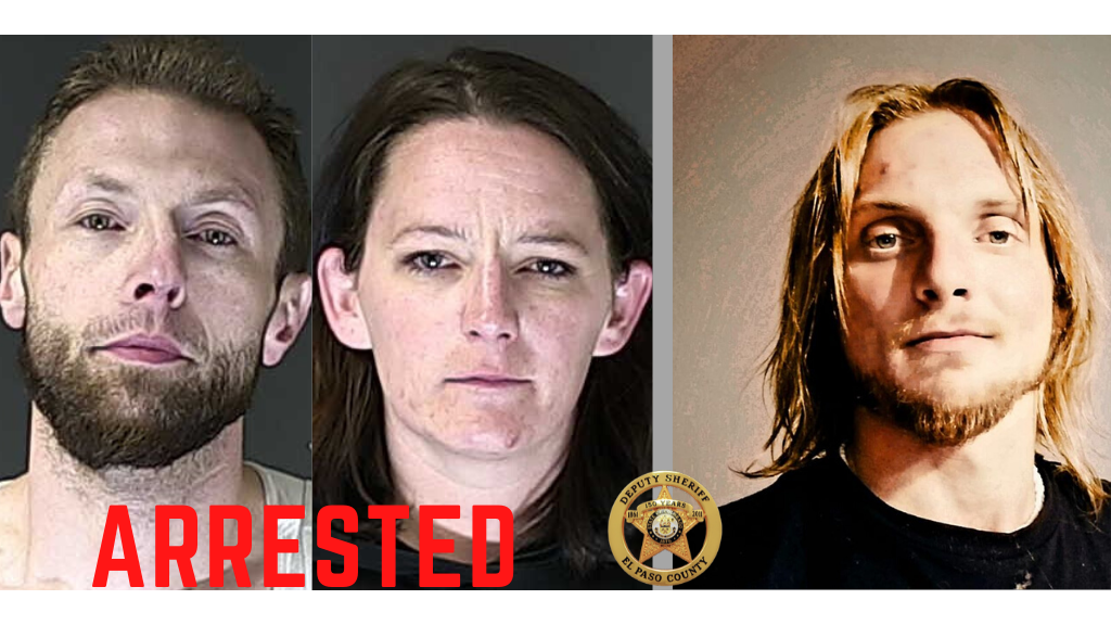 Suspects Randy Bishop (left) and Catherine Sanford (center), and victim Thomas Faircloth (right) / Courtesy El Paso County Sheriff's Office