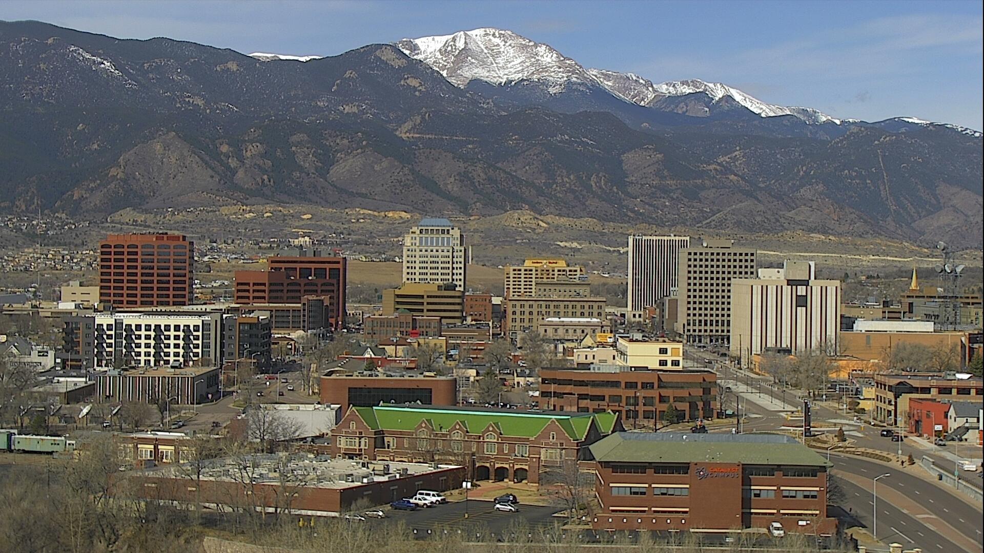 The Colorado Springs skyline around 10:30 a.m. Wednesday.