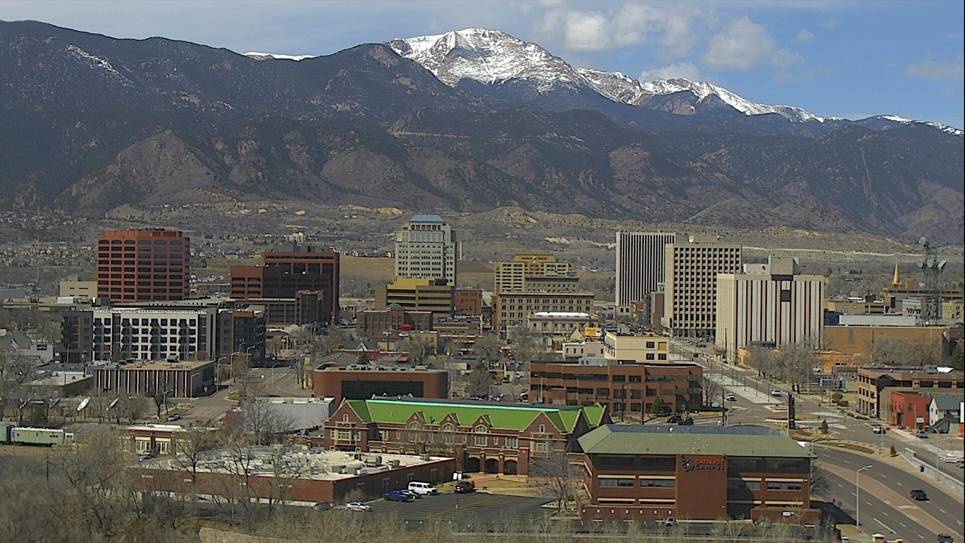 The downtown Colorado Springs skyline around 12 p.m. Thursday.