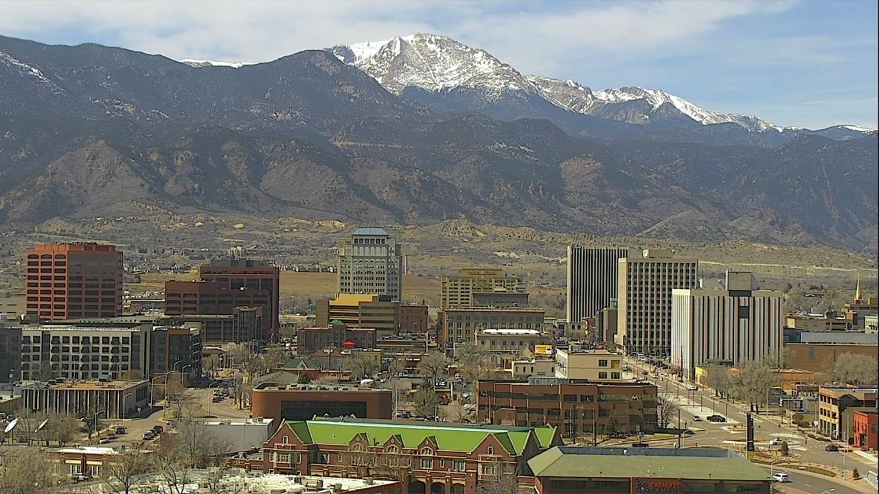 The Colorado Springs skyline around 12:45 p.m. Monday.