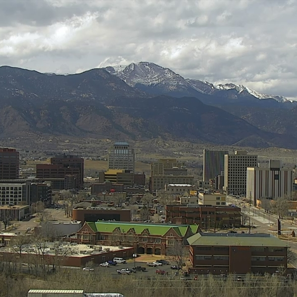 The Colorado Springs skyline around 1:30 p.m. Wednesday.