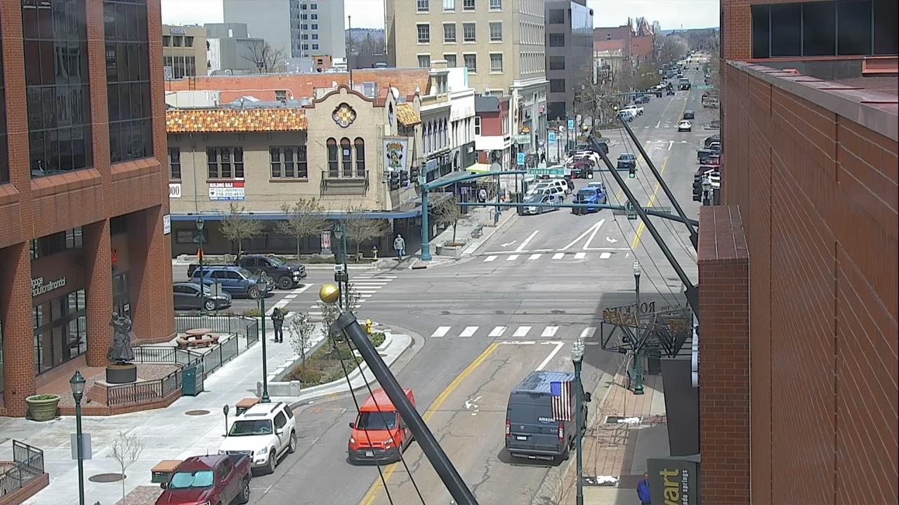 Tejon Street and Colorado Avenue in downtown Colorado Springs around noon Wednesday.