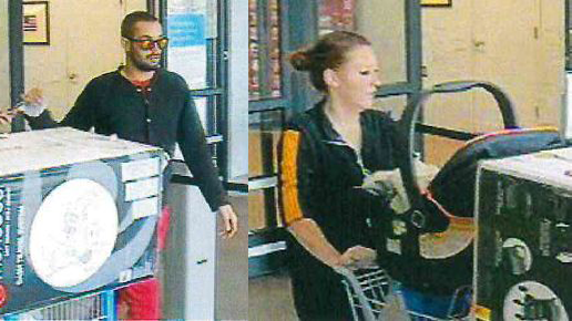 Surveillance images show the two people accused of spending $2,000 on a stolen credit card on May 11. / Courtesy El Paso County Sheriff's Office