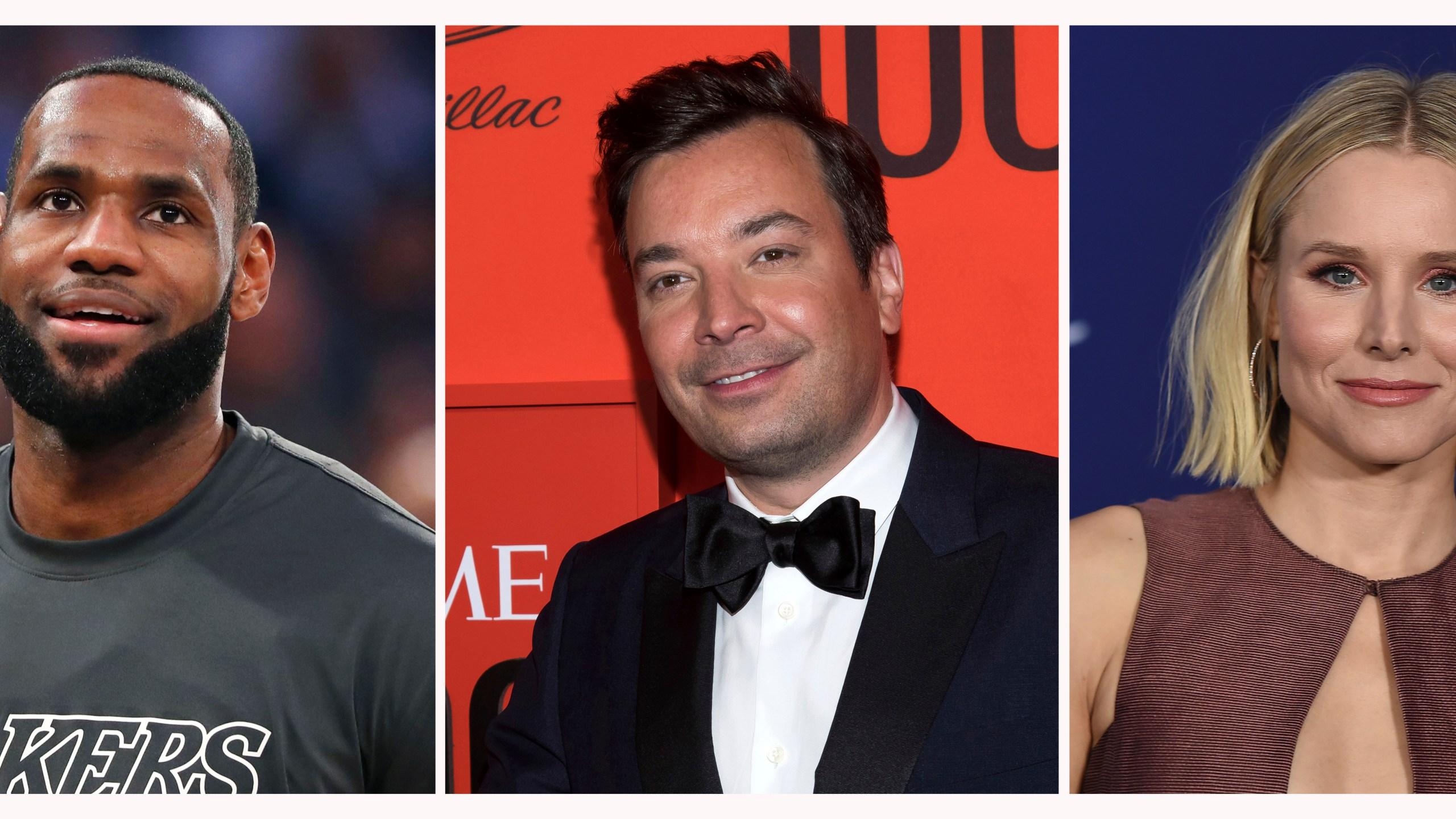 LeBron James, Jimmy Fallon, Kristen Bell