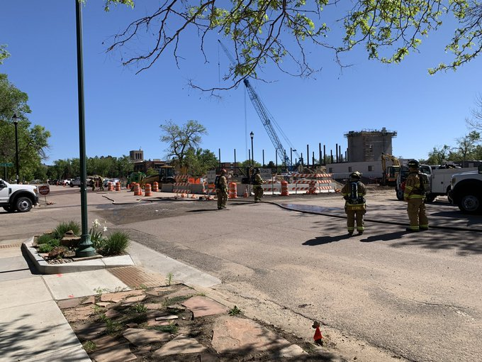 Firefighters on the scene of a gas leak in the area of Tejon Street and Dale Street Tuesday morning. / Photo courtesy Colorado Springs Fire Department