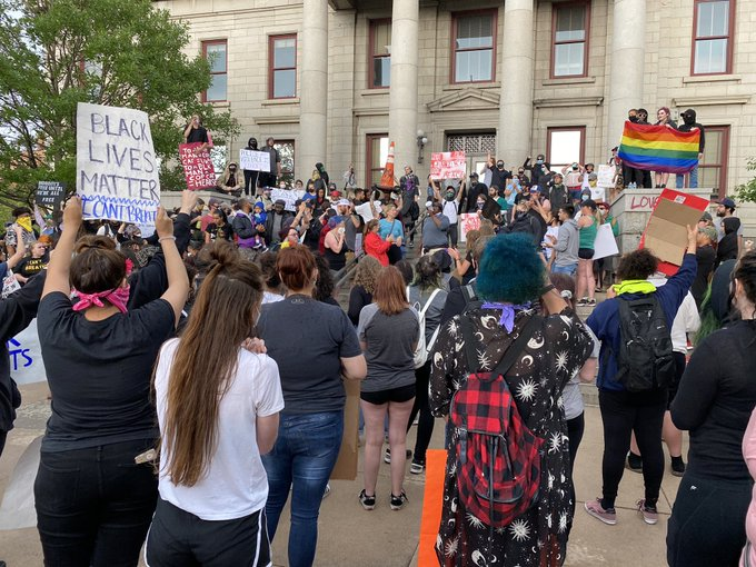 Protesters in front of City Hall in downtown Colorado Springs Sunday. / Courtney Fromm - FOX21 News
