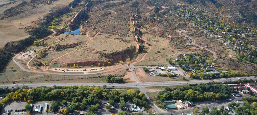 The current entrance and parking area at Red Rock Canyon Open Space. / Aerial photo courtesy City of Colorado Springs