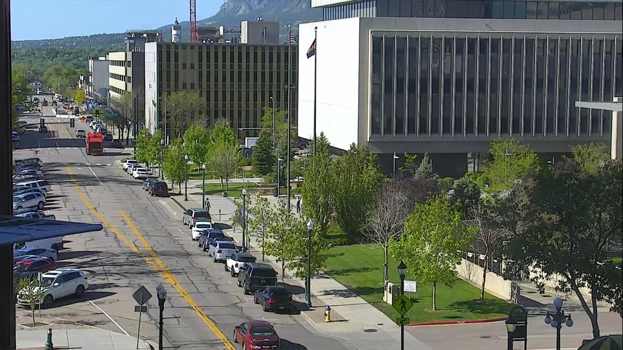 Tejon Street in downtown Colorado Springs around 9 a.m. Thursday.