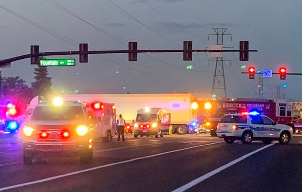 First responders on the scene of a fatal crash at South Academy Boulevard and Fountain Boulevard Thursday morning. / Courtesy Colorado Springs Fire Department