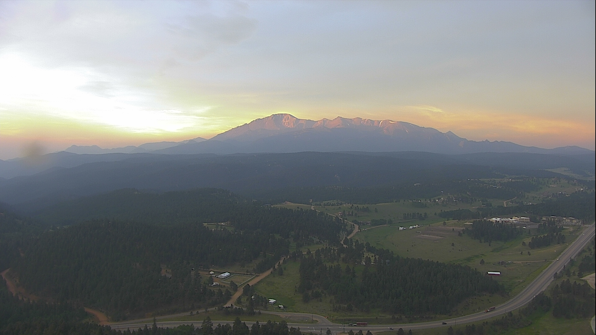 Hazy skies as seen from Gold Hill in Woodland Park around 5:45 a.m. Monday.