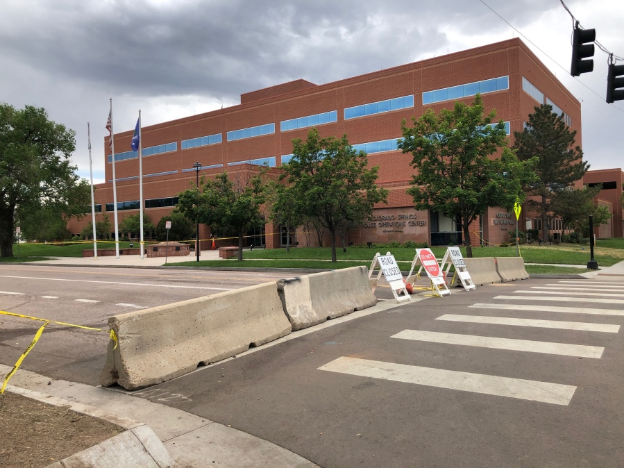 Barricades are set up outside the Police Operations Center in anticipation of protests Tuesday. / Mike Duran - FOX21 News
