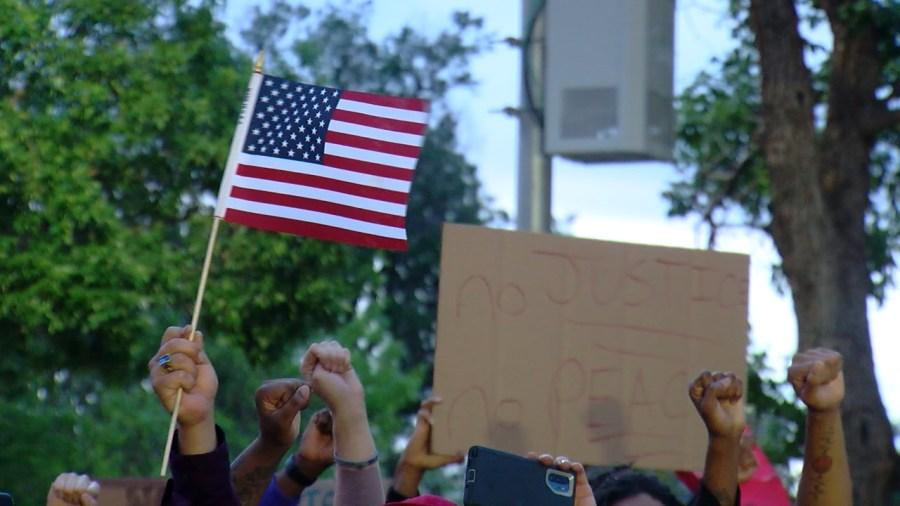 Protesters in downtown Colorado Springs Monday evening. / Sarah Hempelmann - FOX21 News
