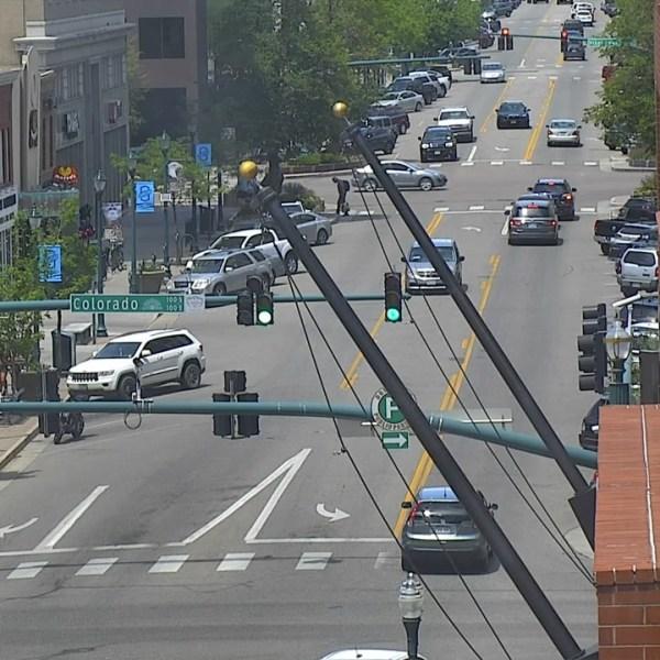 Tejon Street between Pikes Peak Avenue and Colorado Avenue around 2 p.m. Thursday.