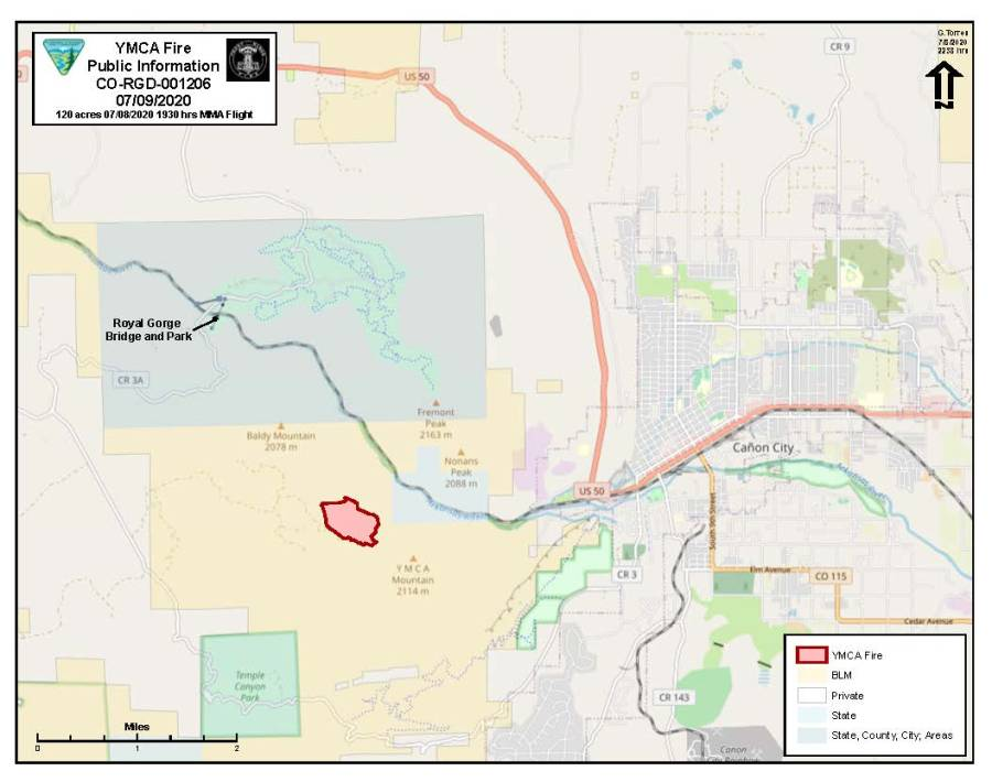 Map of the YMCA Fire area as of 7:30 p.m. Wednesday. / Courtesy YMCA Fire Public Information