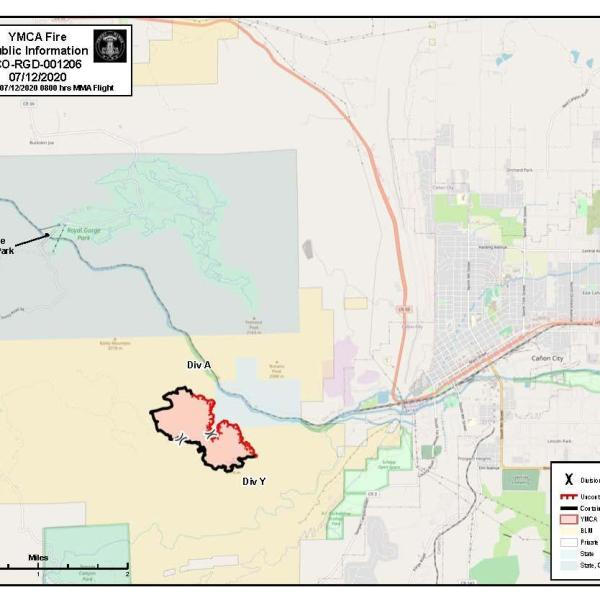 The YMCA fire perimeter as of 8 a.m. Sunday. / Courtesy YMCA Fire Information