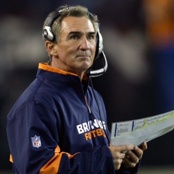 Denver Broncos head coach Mike Shanahan during a game against the Cleveland Browns in an NFL football game Thursday, Nov. 6, 2008, in Cleveland. (AP Photo/Ron Schwane)