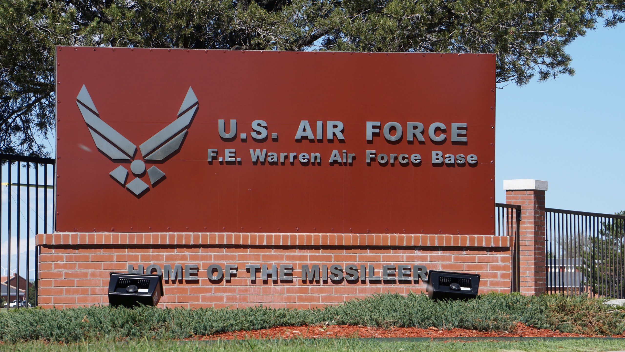 FILE - This May 24, 2108, file photo shows the entrance to F.E. Warren Air Force Base in Cheyenne, Wyo. (AP Photo/Mead Gruver, File)