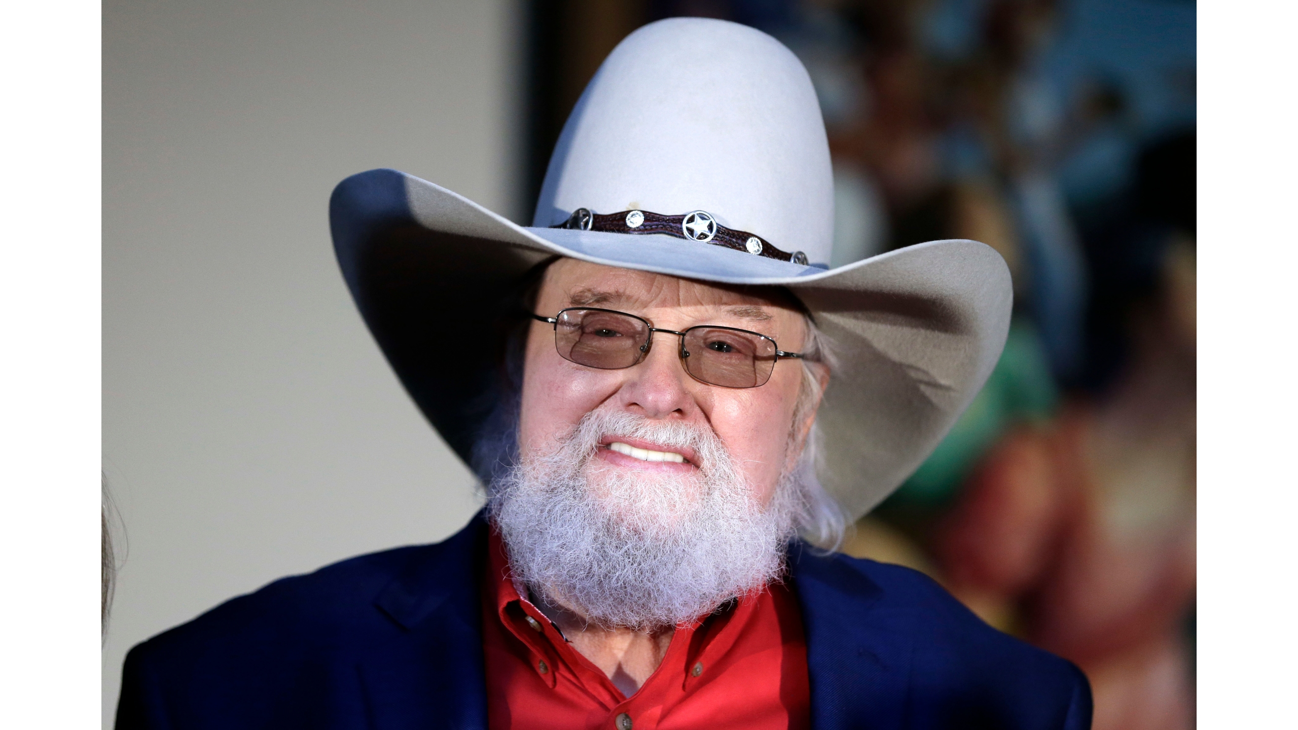 Fiddler Charlie Daniels attends a press conference announcing him as one of three Country Music Hall of Fame inductees Tuesday, March 29, 2016, in Nashville, Tenn. (AP Photo/Mark Humphrey)