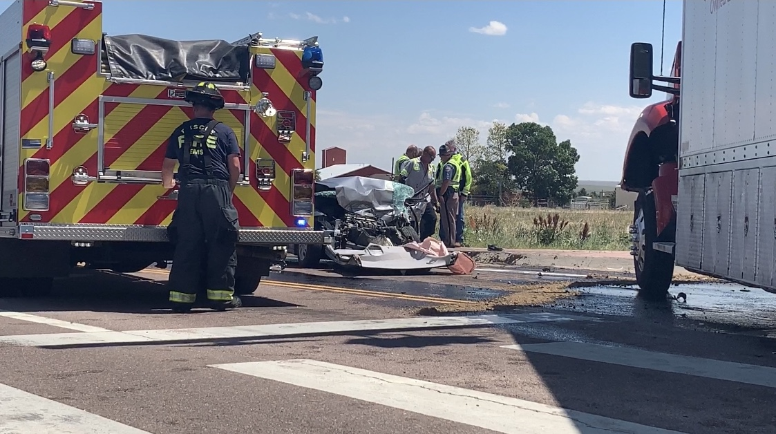 A driver and multiple children were injured in a crash on Powers Boulevard south of Colorado Springs Thursday afternoon. / Sarah Hempelmann - FOX21 News