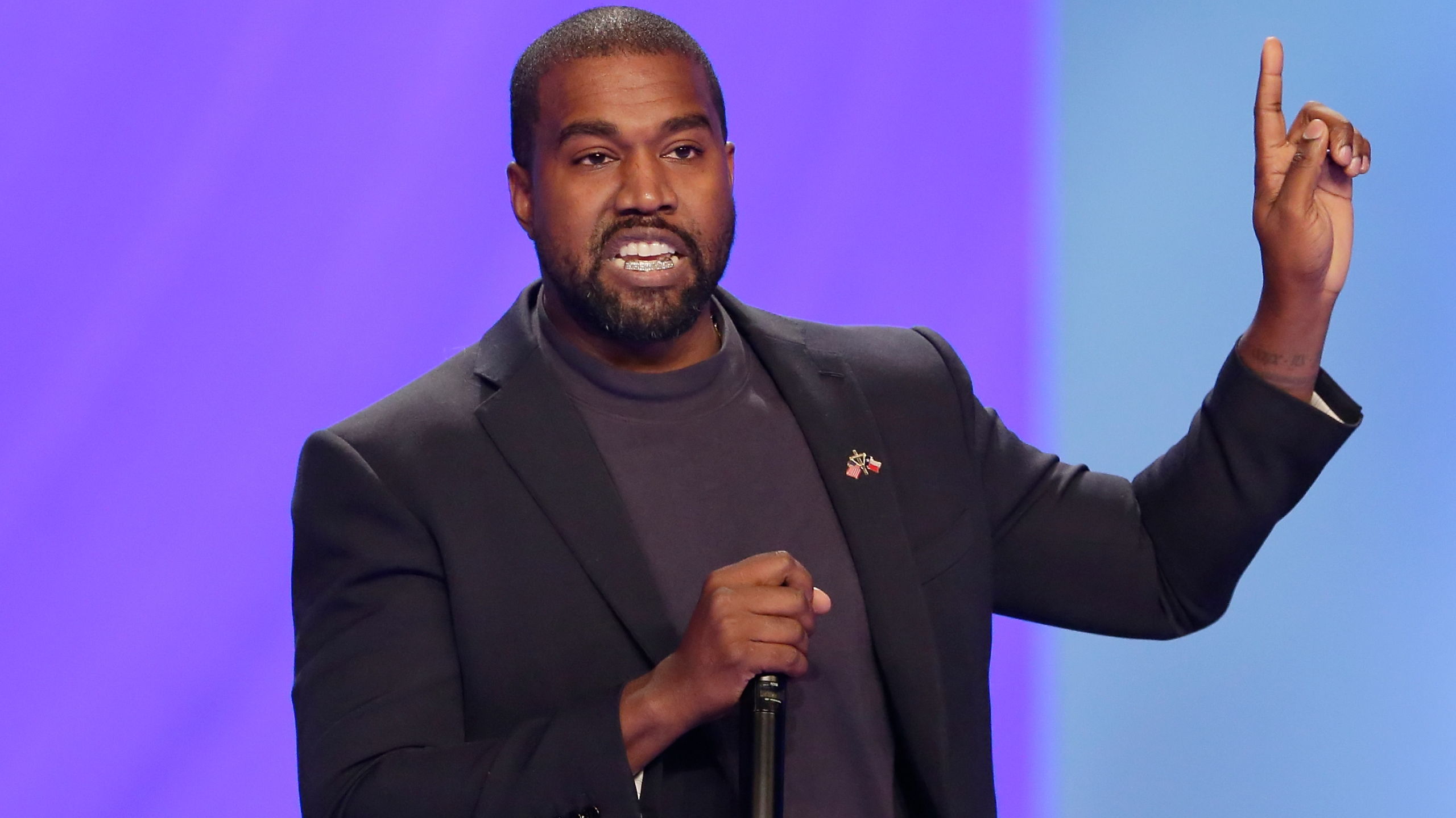 FILE - In this Sunday, Nov. 17, 2019, file photo, Kanye West answers questions during a service at Lakewood Church, in Houston. (AP Photo/Michael Wyke, File)