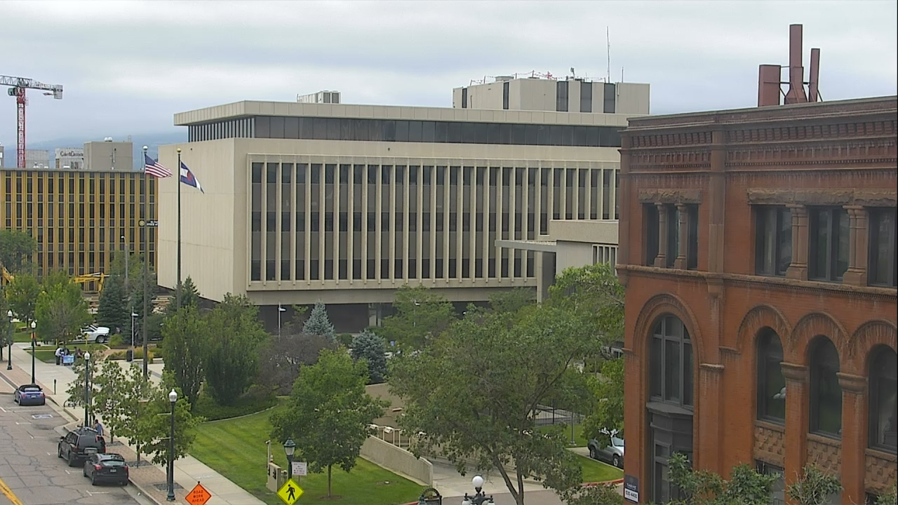 The El Paso County courthouse as seen from the Plaza of the Rockies building Monday morning.