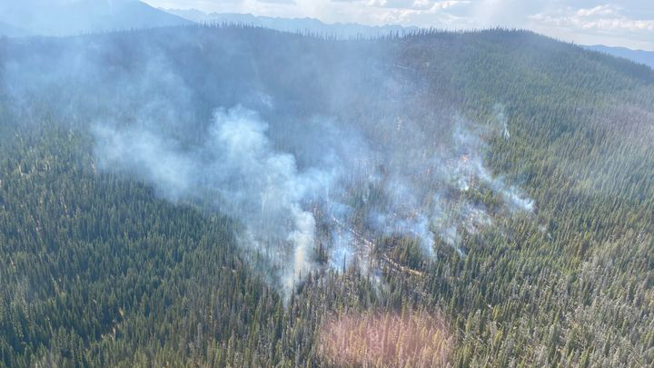 Interior pockets of green continue to burn on the Williams Fork Fire this week. This photo shows Keyser Ridge on Tuesday, September 22. / Photo courtesy Williams Fork Fire Info