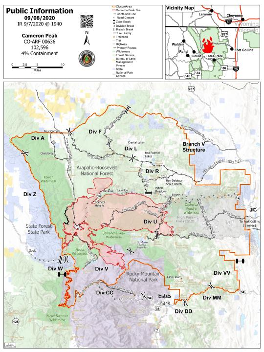 The Cameron Peak Fire information map as of Monday evening.