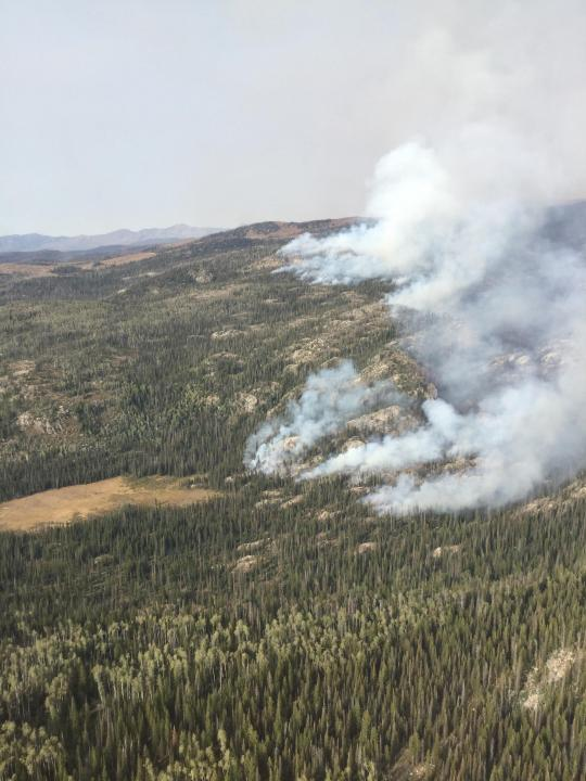 An aerial view of smoke rising from Middle Fork Fire on Monday, September 14. / Courtesy Middle Fork Fire Information