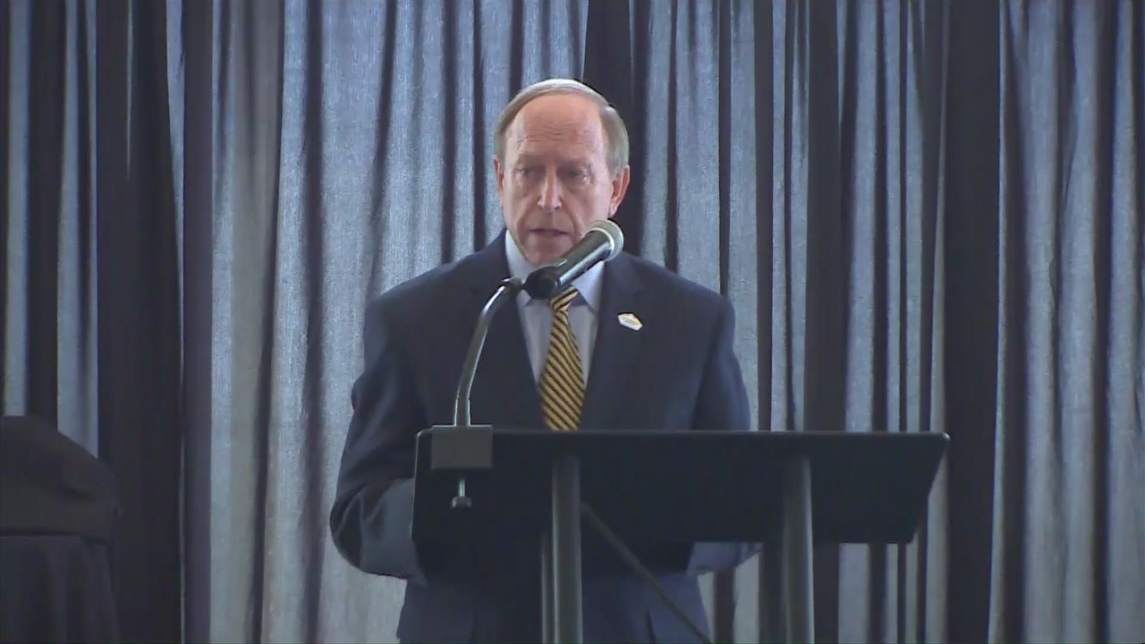 Colorado Springs Mayor John Suthers delivers the State of the City address September 17, 2020 at the Pinery at the Hill.