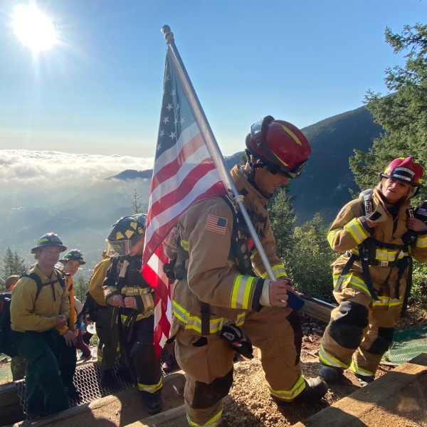 The firefighters and FOX21 crew near the top of the Incline. / FOX21 photo