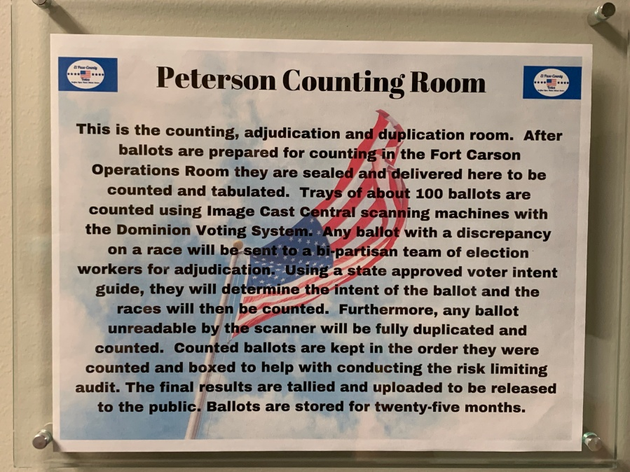 A sign in the Peterson Counting Room at the Citizens Service Center. / Sarah Hempelmann - FOX21 News