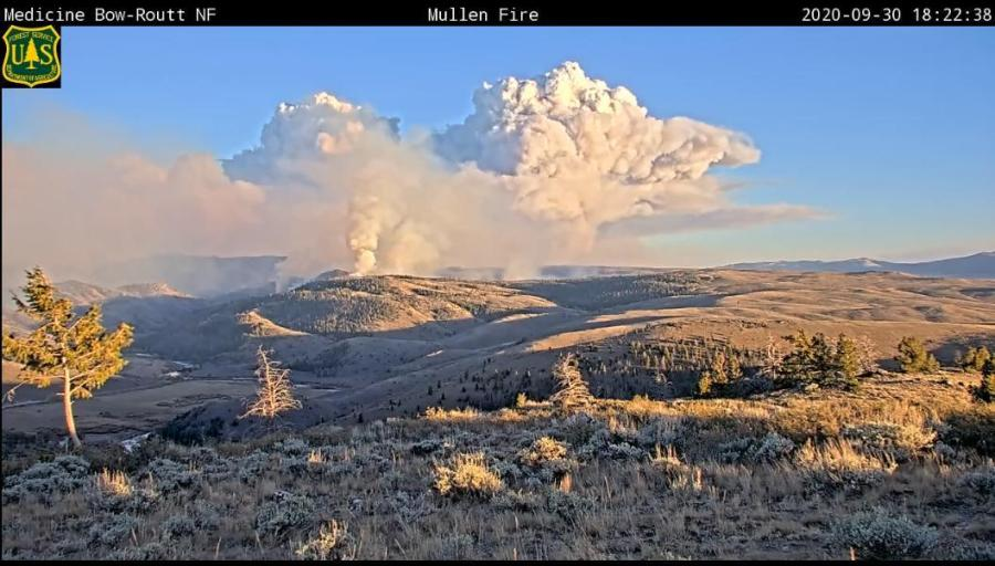 West view of the Mullen Fire around 6:22 p.m. Wednesday, September 30. / Courtesy Mullen Fire Information
