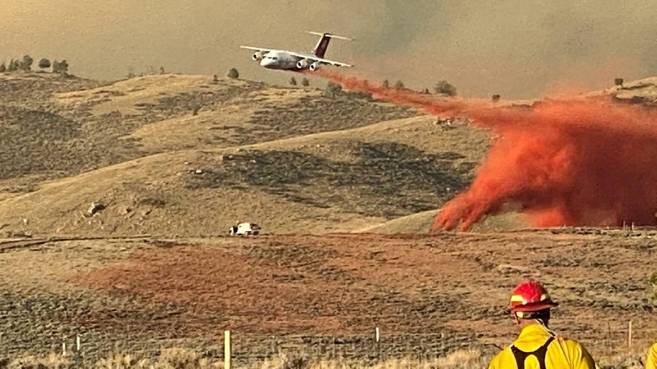 A fire retardant drop on the Mullen Fire. / Courtesy Mullen Fire Information