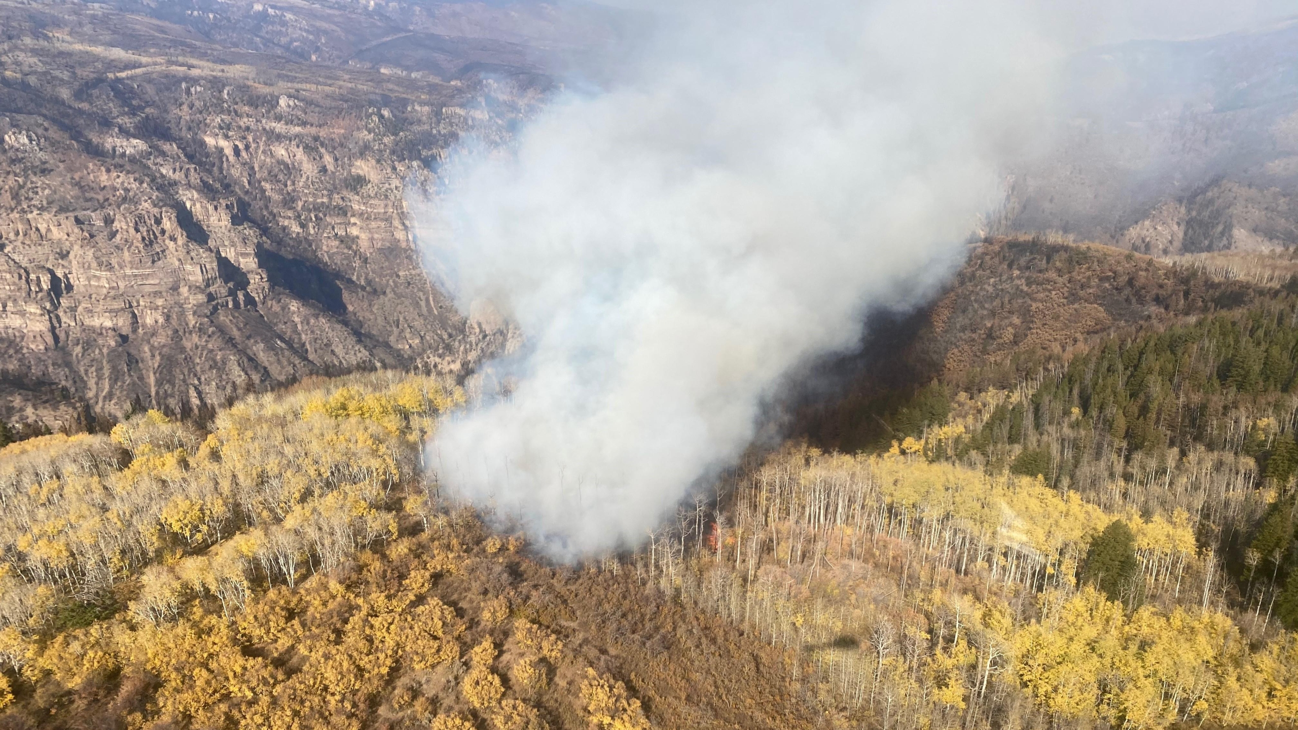 Smoke from Devil's Hole in the Grizzly Creek Fire Monday, October 5. / Photo courtesy Grizzly Creek Fire Information