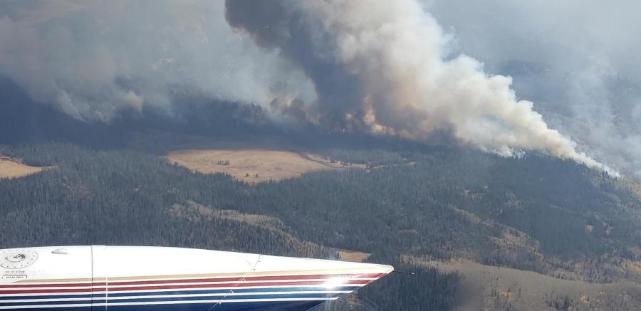 The Middle Fork Fire as seen from the north on Wednesday, October 7. / Courtesy Middle Fork Fire Information