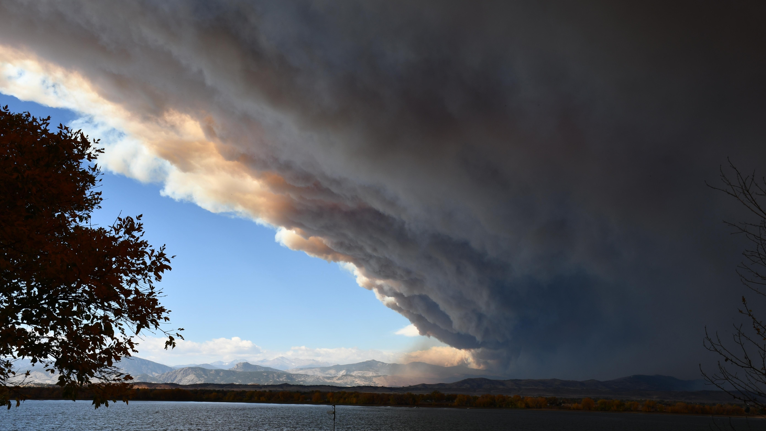 A Cameron Peak Fire smoke column as seen from Boyd Lake Wednesday morning. October 14. The fire burned aggressively due to very high winds. / Courtesy Cameron Peak Fire Information
