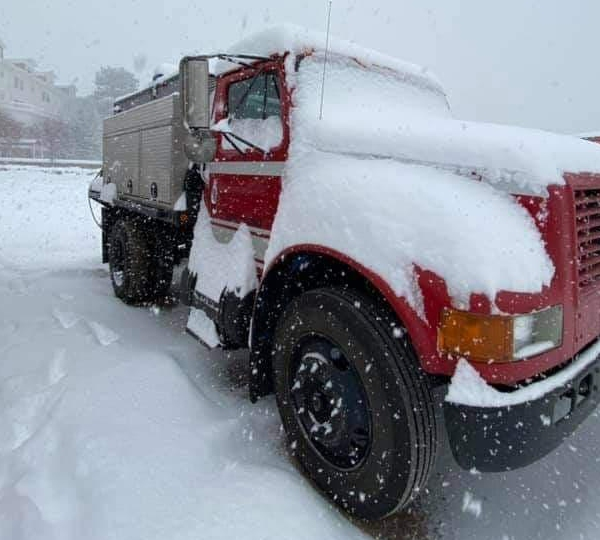 Snow fell over the Cameron Peak Fire area Sunday. / Courtesy Cameron Peak Fire Information