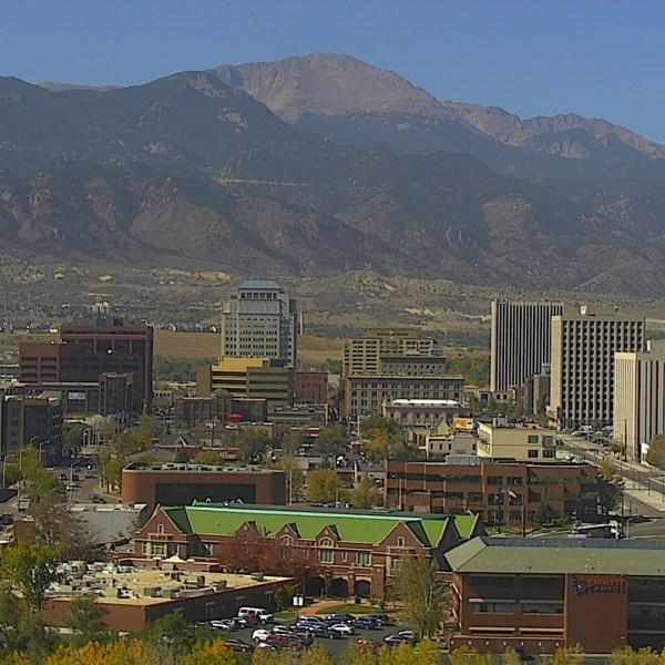 The Colorado Springs skyline around noon Tuesday.