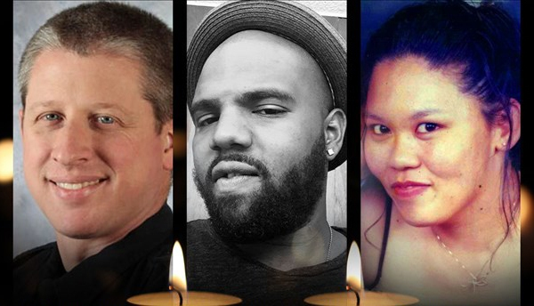 Garrett Swasey, Ke'Arre Stewart, and Jennifer Markovsky / Swasey photo courtesy UCCS; Stewart photo courtesy Ke'Arre M. Stewart Family