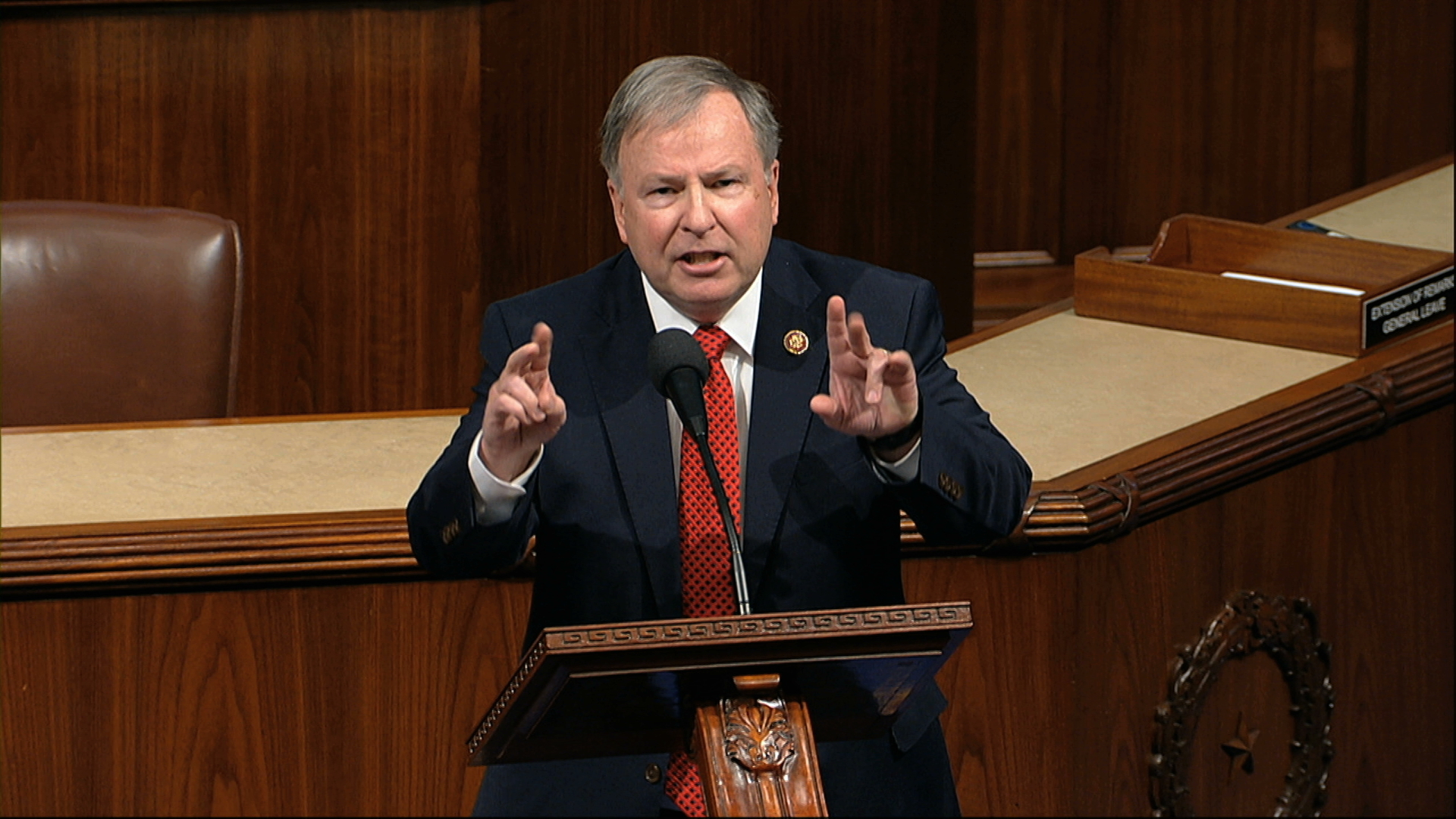Rep. Doug Lamborn, R-Colo., speaks as the House of Representatives debates the articles of impeachment against President Donald Trump at the Capitol in Washington, Wednesday, Dec. 18, 2019. (House Television via AP)