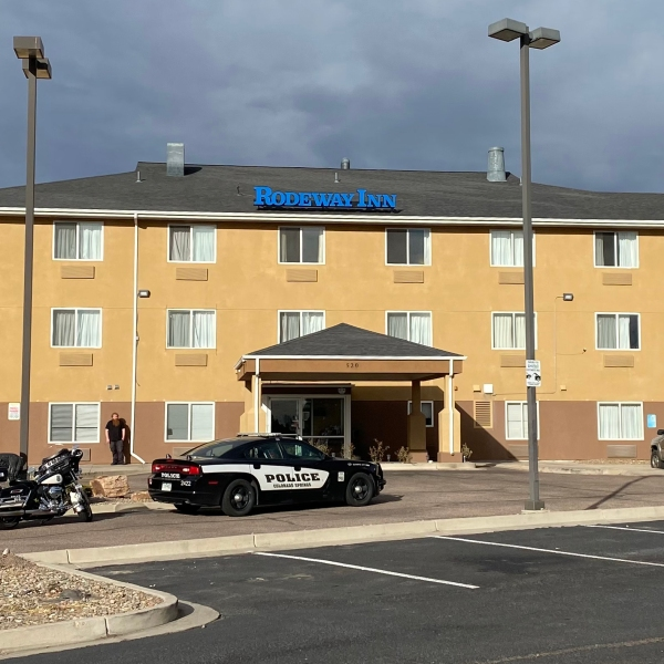 Police investigate a shooting at a Rodeway Inn in eastern Colorado Springs Wednesday morning. / Joe Swanson - FOX21 News