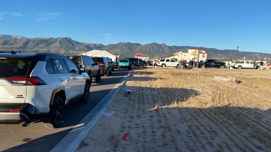 A line of cars waits for the opening of Colorado Springs' first In-N-Out location Friday morning. / Joe Swanson - FOX21 News