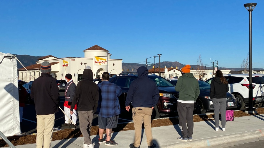 Customers wait for the opening of Colorado Springs' first In-N-Out location Friday morning. / Joe Swanson - FOX21 News