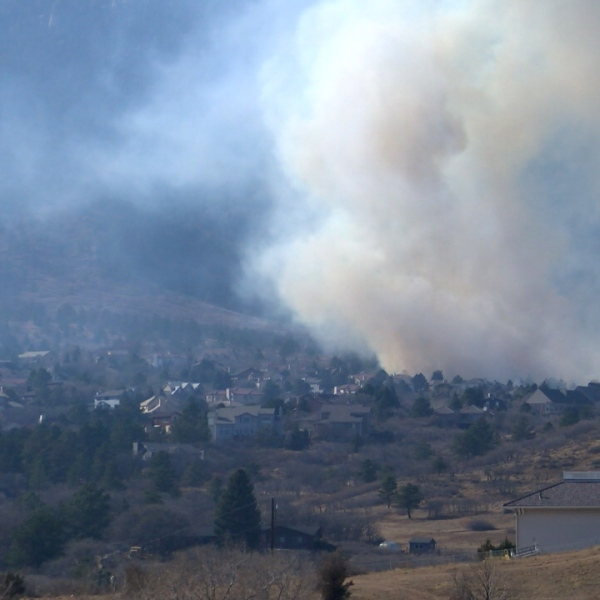 The Bear Creek Fire Thursday afternoon. / Brandon Thompson - FOX21 News