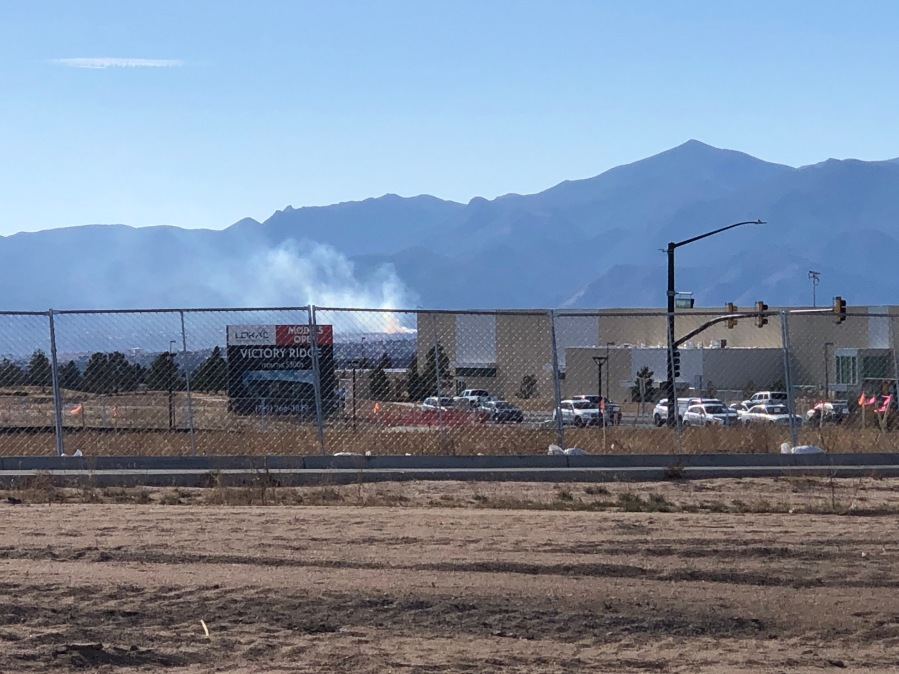 The Bear Creek Fire is visible from the area of Interquest Parkway and Voyager Parkway in northern Colorado Springs Thursday afternoon.