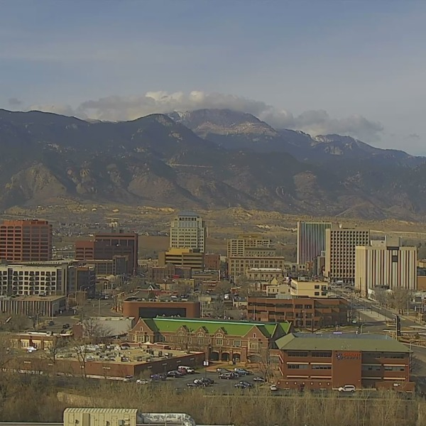 The Colorado Springs skyline around 10:30 a.m. Monday.