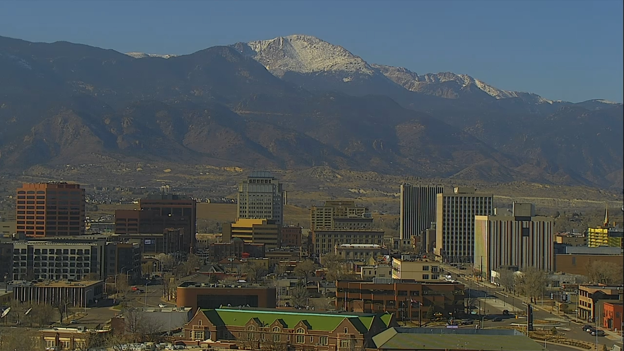 The Colorado Springs skyline around 11 a.m. Friday.