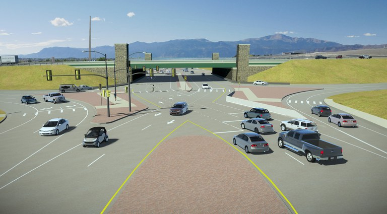 A rendering of the new interchange at Powers Boulevard and Research Parkway. / Courtesy CDOT